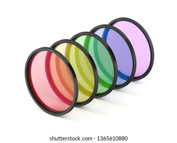 Filters with different colors on white background, 3D illustration
