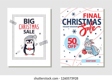 Final Christmas sale and 50% off, shop now and holiday discount, letterings on banner with penguin in sweater and hare with gift raster illustration