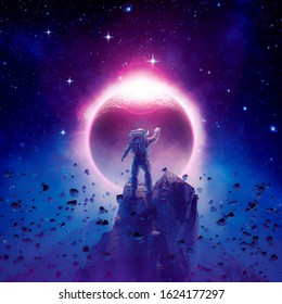 The final eclipse / 3D illustration of science fiction scene showing astronaut viewing solar eclipse from mountain surrounded by asteroids in space