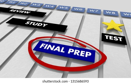 Final Preparation Study for Test Timeline Gantt Chart 3d Illustration