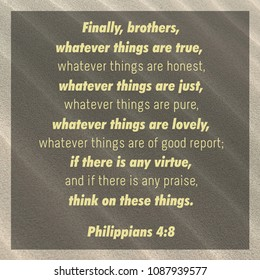 Finally, brothers, whatever things are true...honest...just...pure...lovely...of good report; if there is any virtue, and if there is any praise, think on these things. Philippians 4:8