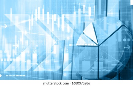 Financal stock market chart graph background. 3d illustrtion