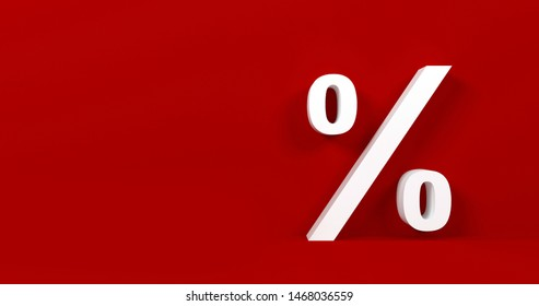 Finance, banking, commission and tax concept. Percentage symbol isolated on red background.