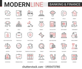 Finance and banking flat thin red black line icons illustration set. Creative website financial outline symbols of digital bank software, legal insurance and cyber security business collection