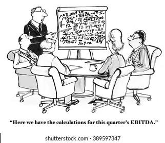 Finance cartoon about EBITDA.