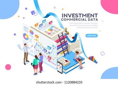 Finance and commercial investment analysis work. Seal concept on official documents clipart. Infographics for web banner or hero images. Flat isolated isometric people illustration.