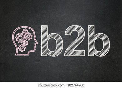 Finance concept: Head With Gears icon and text B2b on Black chalkboard background, 3d render