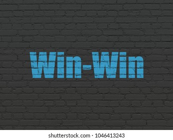 Finance concept: Painted blue text Win-Win on Black Brick wall background