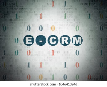 Finance concept: Painted blue text E-CRM on Digital Data Paper background with Binary Code