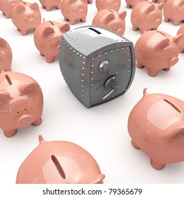 Finance concept with piggy bank and bank safe.