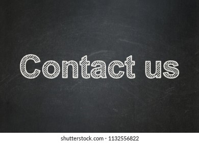 Finance concept: text Contact us on Black chalkboard background