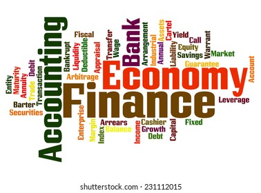 Finance economy and accounting related word collage