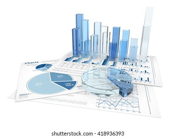 Finance. Financial documents with 3D graphs and pie charts of glass.