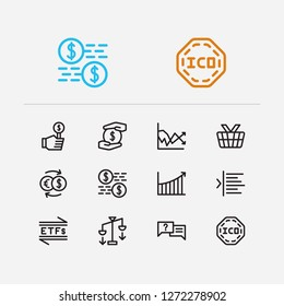 Finance icons set. Rally and finance icons with ask, mutual funds and capitalization. Set of deposit for web app logo UI design.