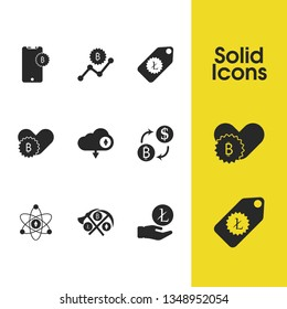 Finance icons set with tags litecoin, bitcoin phone and arm litecoin elements. Set of finance icons and cryptocurrency mining concept. Editable  elements for logo app UI design.