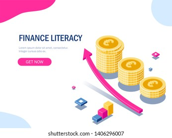 Finance literacy isometric concept. Euro stack of coins. Gold money. Growth arrow. Financial success. 3d illustration.