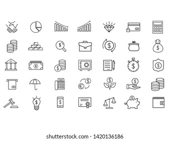 Finance and money outline black line icons set on white background