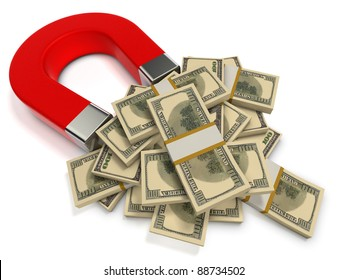 Finance success concept. Red magnet attracts dollar banknotes.