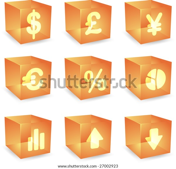 Finance symbols icon set over translucent cubes