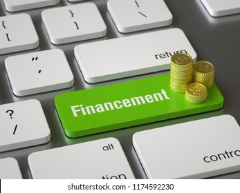 financement key on the keyboard, 3d rendering,conceptual image.