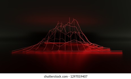 Financial 3D red neon light chart in black background. 3d rendering.