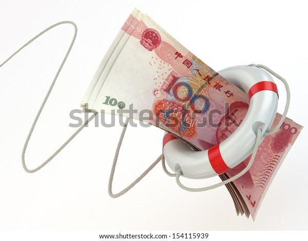 Financial aid. Life preserver and yuan. 3d