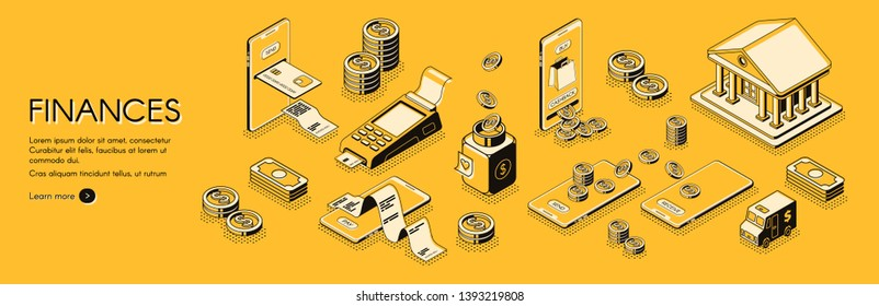 Financial analysis, investments and business consulting company, online banking and accounting service isometric horizontal web banner or poster with mobile digital payments line art concept