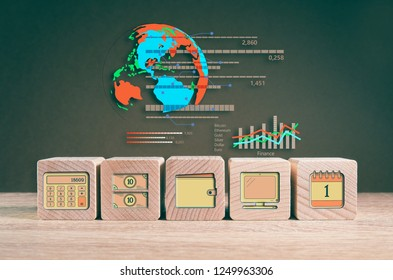 Financial analysis, report, statistics, marketing and accounting symbols on wooden blocks 3D illustration