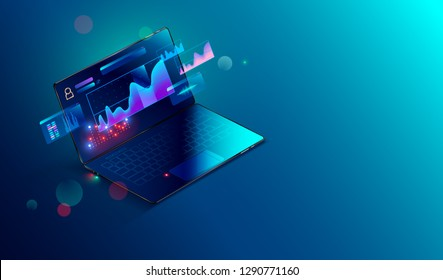 Financial analytic and business infographic elements on screen laptop. Finance graphs, analysis data and charts investment and trade. 3d isometric Vector. Business Concept.