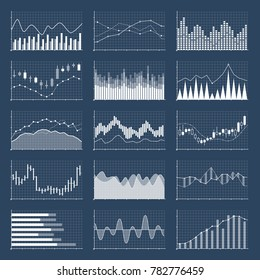 Financial candle stick graphs. Currency business and market charts set. Finance investment growth diagram information illustration