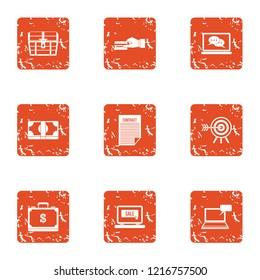 Financial capacity icons set. Grunge set of 9 financial capacity icons for web isolated on white background