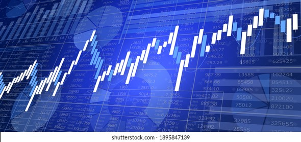 Financial chart with business chart in the background.3D illustration