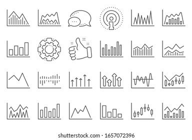 Financial chart line icons. Set of Candle stick graph, Report diagram and Infochart icons. Growth, Trade and Investment chart. Stock exchange, Candlestick and financial diagram graph.