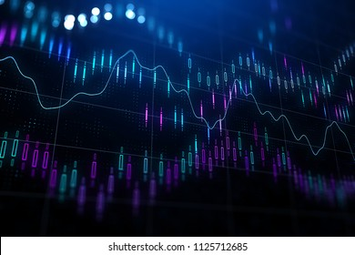 financial chart with various indicators and graphs at abstractl dark backgound. 3D render