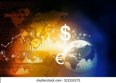 Financial charts and graphs with digital world