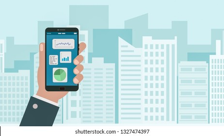 financial charts with a smartphone, concept of finance and technology, stock market mobile app, cartoon flat style, skyscrapers on background, copy space