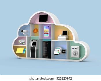 Financial cloud technology concept. 3D rendering image.