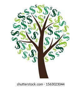 Financial concept. Money tree - symbol of successful business.   Illustration