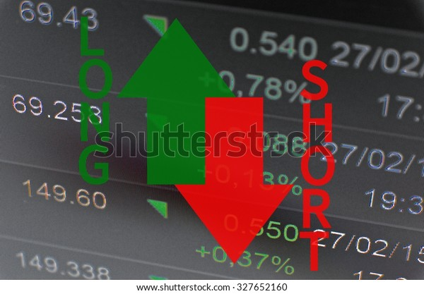 Financial concept. Trading software window on PC screen, close-up. Arrows with text (long and short) indicated, stock market activity.