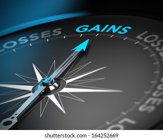 Financial consulting concept. Compass needle pointing the word gains over black background with blur effect