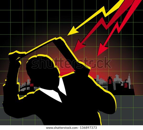 Financial crisis concept. Business man hiding under the laptop