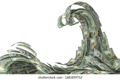 Financial crisis concept. Money wave isolated on white. 3d illustration