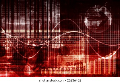 Financial Crisis World Abstract Background in Red