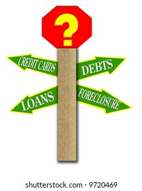 Financial or debt theme; street sign with arrows stating various financial situations; computer illustration