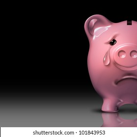 Financial despair and bankruptcy crisis due to poor savings and bad home finances and budgeting represented by a sad piggy bank crying with a tear of depression on a black background.