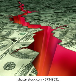 Financial disaster and economic earthquake symbol and concept of struggling economy and market recession and U.S debt and deficit showing American currency cracked and damaged by a deep red rupture.
