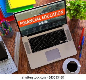 Financial Education on Laptop Screen. Online Learning Concept.