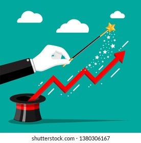 Financial graph flying out of magical hat and hand with magic wand. Growth, income, savings, investment. Symbol of wealth. Business success. Flat style illustration.