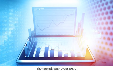Financial graph with modern computer. 3d illustration