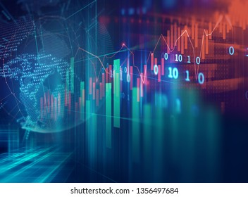financial graph on technology abstract background represent financial crisis,financial meltdown